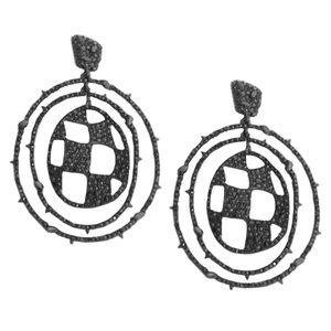 ALEXIS BITTAR Checkerboard Orbiting Hoop Earrings